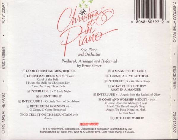 Bruce Greer - Christmas At The Piano (1989)